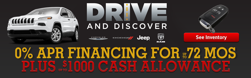 Drive and Discover Offers 0% Financing Plus Cash Allowance